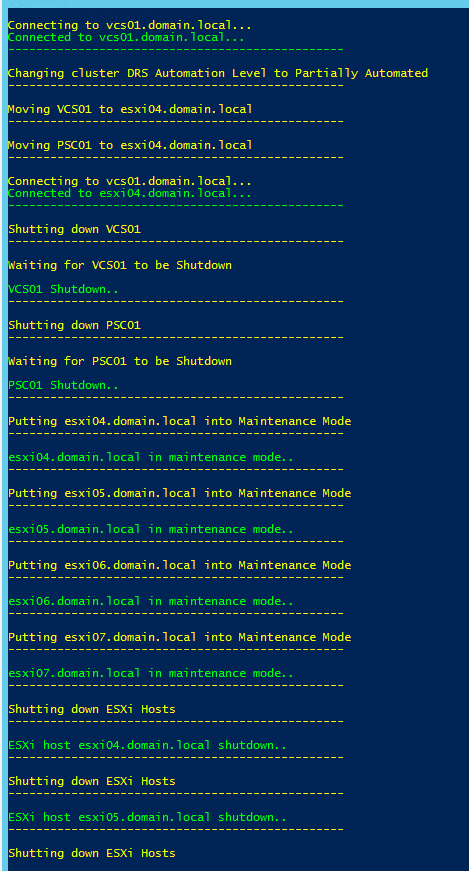 Shutdown/Power up a vSAN cluster with PowerCli – LifeOfBrianOC